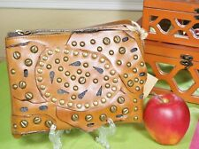 Patricia Nash Cassini Leather Stud Link Perforated Tan Wristlet NWT
