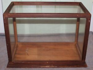 """ANTIQUE WOOD AND GLASS MODEL DISPLAY CASE 18 1/2"""" BY 13 1/2"""" BY 9 1/2"""""""