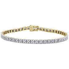 "10K Yellow Gold Diamond 4.50mm Cluster Flower Set Pave 9.50"" Bracelet 4.75 CT."