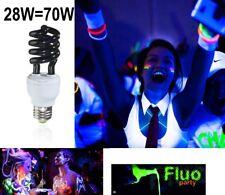 LAMPADA UV neon 28 WATT E27 220V effetto LUCE NERA WOOD PAR faro fluorescenteNEW