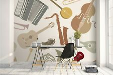3D Musical Instruments Self-adhesive Removable Wallpaper Murals Wall Sticker FC