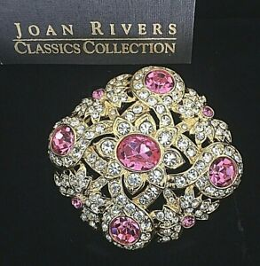 """Joan Rivers Pink and Clear Crystal Pin Brooch 2"""" New in Original Box w/ card"""