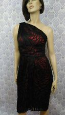 Womens Holiday Party Dress Size M Le Chateau One Shoulder Red Black Silk Blend