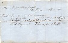 54066. March 1852 Rcpt for Daughter's Coffin to Jonathan Wright from Thomas Shed