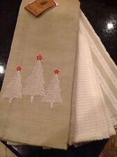 WELL DRESSED HOME TEA TOWELS (3) CHRISTMAS TREES  KHAKI 100% COTTON NWT