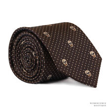 Alexander McQueen Marrón Oscuro Crema Marfil cráneo Dot patrón Estrecha Corbata Corbata