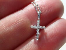 Small, dainty cross pendant. 9ct white gold & 9ct white gold necklace.