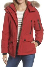 PENDLETON Bachelor Water Repellent Hooded Down Parka with Coyote Fur Trim Red XS