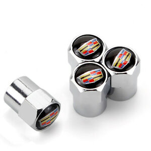4x For Cadillac Car Tire Valve Stems Caps Wheel Air Valve Covers Styling Logo