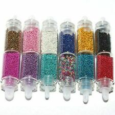 12 Mini Bottles Nail Caviar Beads Body Nail Art Manicure Pedicure Face Painting