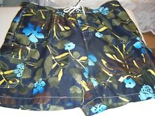 MENS CARRIBEAN JOE XL BLACK BROWN GREEN BLUE YELLOW FLORAL SWIMSUIT