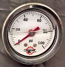 HARLEY LIQUID FILLED OIL PRESSURE GAUGE 100PSI hd chopper bobber white ss 100