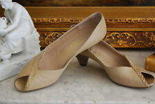 BRUNO MAGLI TAN LEATHER HIGH HEEL CLASSIC PUMP WITH SNAKE SKIN SHOES SIZE 8.5 B