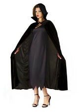 Deluxe Ladies Long Black Velvet Cape Cloak Vampire Halloween Fancy Dress Costume