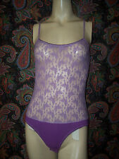 Vtg Zara Purple Camisole Style Lace Teddy Romper Lingerie M