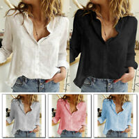 Sexy Women Long Sleeve V Neck Blouses Button Up Tops Down Casual Blouse Shirt