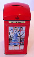 Red Tin Red British Telephone Kiosk Money Box By Bentley's Collectable