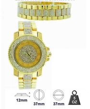 NEW ICE MASTER GOLD TONE,2 PC SET,PAVE CRYSTALS,GLITZ WATCH+BRACELET