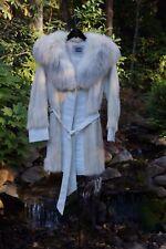EUC Women's 50s White Mink Fur & Leather Coat w/Arctic Fox Collar Size M 8/10