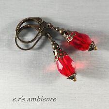 Ohrringe mit Glas-Kristall-Tropfen, Bronze-Vintage-Look, Ohrhänger, 0445