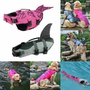 Dog Pet Swimming Swim Life Jackets Shark Float Vest Adjustable Aid Costume XS-XL