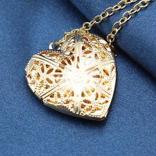 Women Fashion Locket Hollow Heart Shape Birthday Gift Chain Luminous Necklace