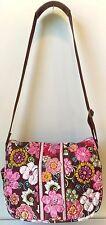 Vera Bradley Large Messenger Book Laptop Diaper Shoulder Bag Mod Floral Pink EUC