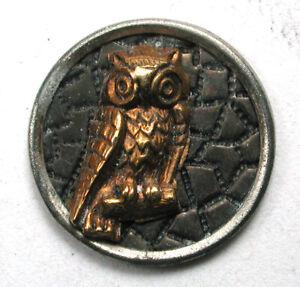 """Antique Brass Button Owl Escutcheon on Textured Background 9/16""""  1890s"""