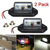 2x 12V/24V 4 LED Blanc Feux éclairage plaque d'immatriculation Camion Remorque