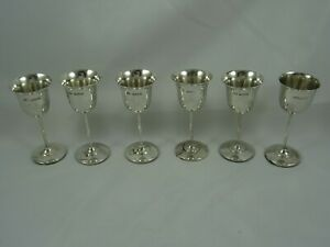 SET X 6 sterling silver LIQUOR GOBLETS, 1927