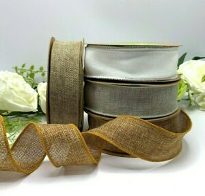 1.5 inch wired faux burlap ribbon natural white silver gold rustic wedding bow