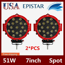 2X 7INCH 51W LED DRIVING LIGHT SPOT OFFROAD TRUCK 4X4 ROUND RED FOG LAMP 12V24V