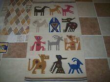 "Vintage Hand  Woven WOOL Blanket Rug very OLD ANIMALS 50.5""X 26.5"" WOW LOOK"