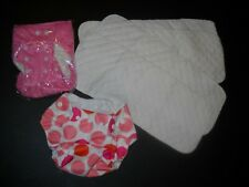2 NEW ADJUSTABLE GIRL DIAPER COVERS & 4 CLOTH LINERS/ INSERTS~NEWBORN TO AGE 3
