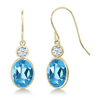 3.22 Ct Oval Swiss Blue Topaz 14K Yellow Gold Earrings