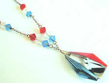 c.1930s 'RED WHITE & BLUE' Clear Glass BEAD & PENDANT NECKLACE Art Deco