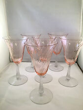 Set of 6 Pink Depression Glass Swirl Wine/Water Glasses w/ Clear Stems