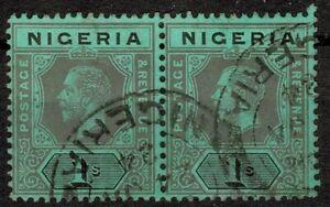NIGERIA 1915 SG8c 1s black / blue-green PAIR of stamps