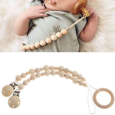 Baby Wooden Dummy Chain Nipple Clip Holder Pacifier Baby Infant Beaded Accessory