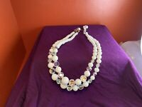 "Vintage 2 Strand Aurora Borealis & Faux Pearl 17"" Collar Necklace hook clasp"