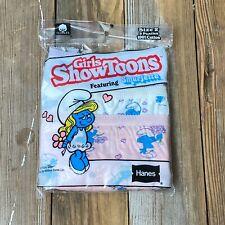 Vintage Hanes Girls ShowToons Smurfette Size 2 Cotton Underwear 1984