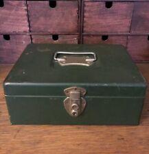 Vintage Master Metal Products, Buffalo New York, Green Metal Strong Lock Box