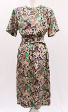 New listing Vintage Miss Hong Floral Butterfly Printed Silk Belted Dress Sz M