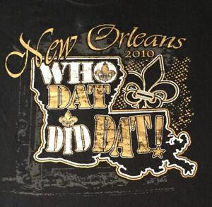 New Orleans Saints 2010 Superbowl Champion T-Shirt Who Dat Did Dat Size Large