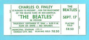 THE BEATLES UNUSED KANSAS CITY CONCERT TICKET  SEPTEMBER 17 1964 ORIGINAL