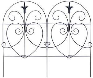 "18"" x 8', Black, Romantic Style, Folding Fence, Powder Coated Steel, 89379"