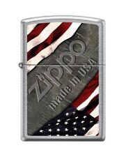 Zippo 1276 Made in USA Flag Street Chrome Full Size Lighter