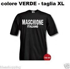 """T-SHIRT maglia XL VERDE con scritta SIMPATICA UMORISTICA """" MASCHIONE ITALIANO """""""
