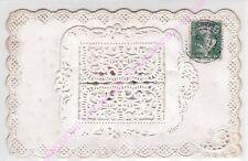 CPA CANIVET BLANC Rare Fenêtre dentelée intérieur avec message hirondelle ca1909