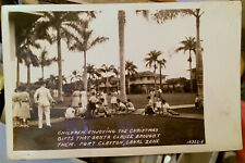 Fort Clayton PANAMA CANAL ZONE, Photo Post Card '30s KIDS, CHRISTMAS CELEBRATION